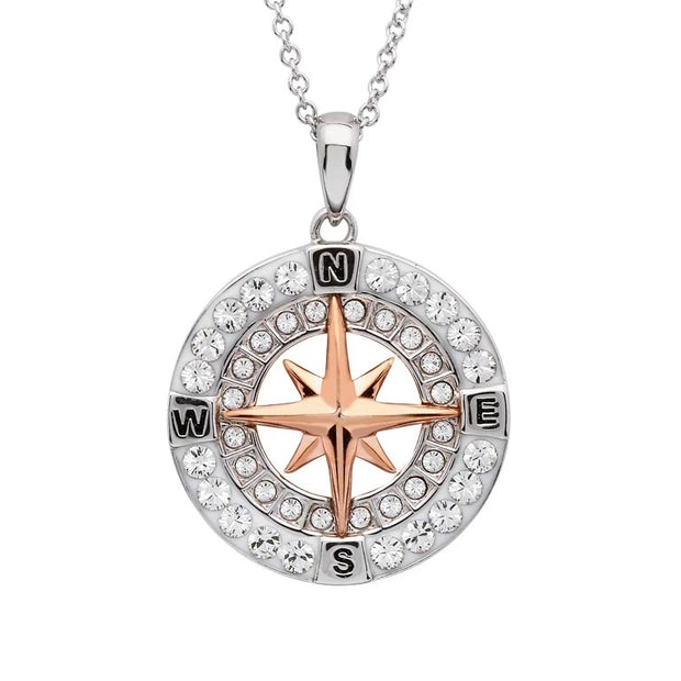 Swarovski Compass with Rose Plate Necklace