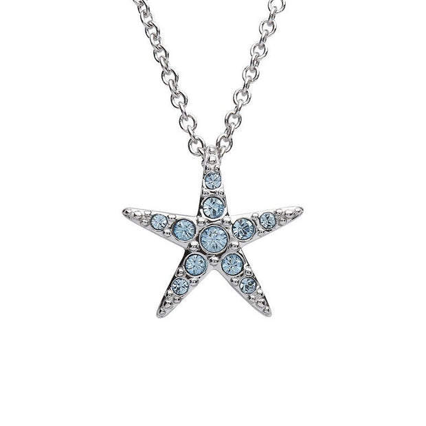 Starfish Pendant With Aqua Swarovski® Crystals