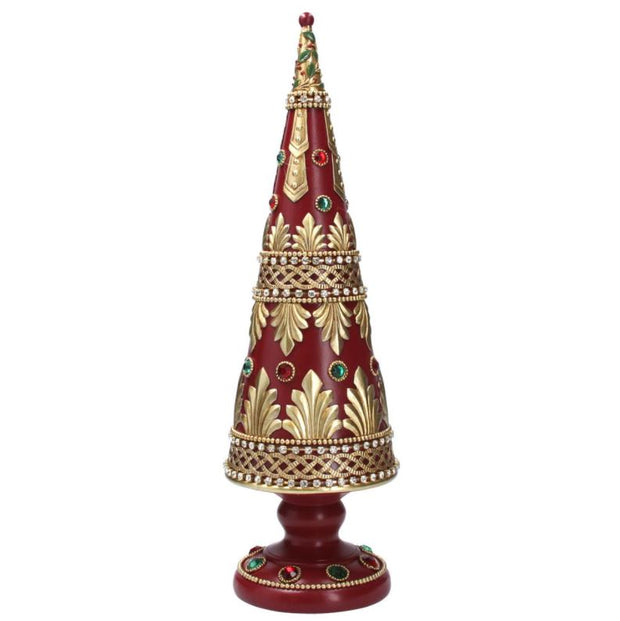 Gisela Graham Red/Gold Tree w Jewels 43cm