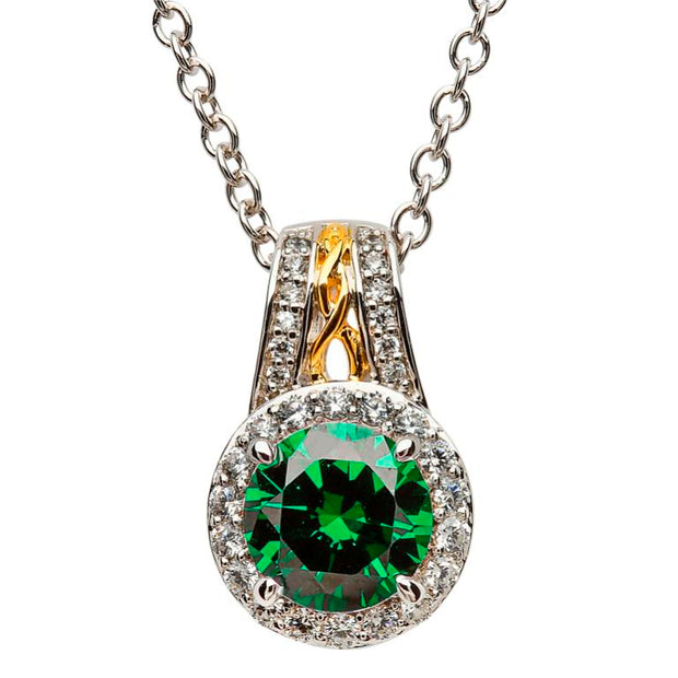 Silver Green CZ Halo Necklace