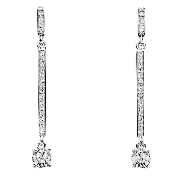 Two Part Silver Drop Earrings Encrusted With White Swarovski Crystal