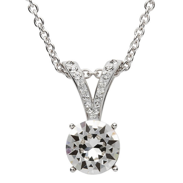 Silver Elegant Design Pendant Embellished With White Swarovski Crystal