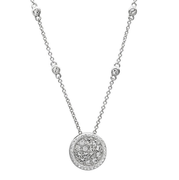Sterling Silver Round Halo Necklace Encrusted With White Swarovski Crystals