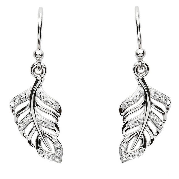 Silver Leaf Style Earrings Adorned With Swarovski Crystals