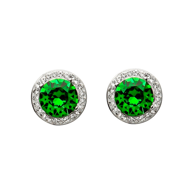 Silver Round Halo Stud Earrings Encrusted - Emerald