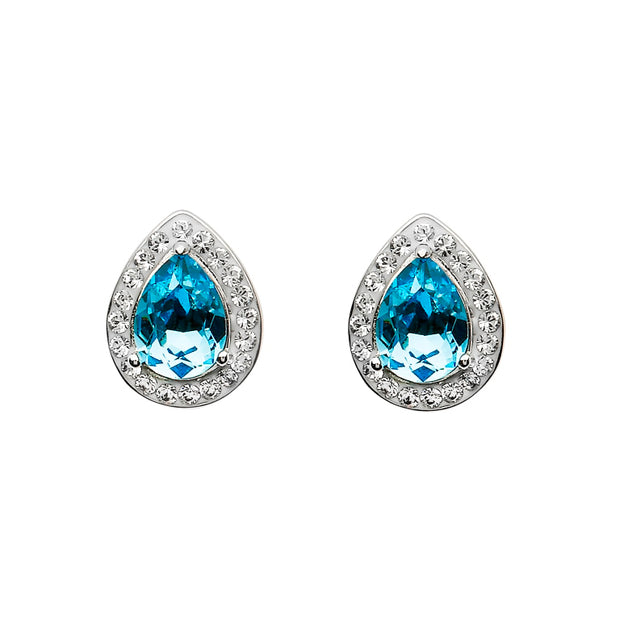 Silver Pear Shape Stud Earrings Aquamarine And White Swarovski Crystals