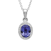 Tanzanite and white Swarovski Necklace