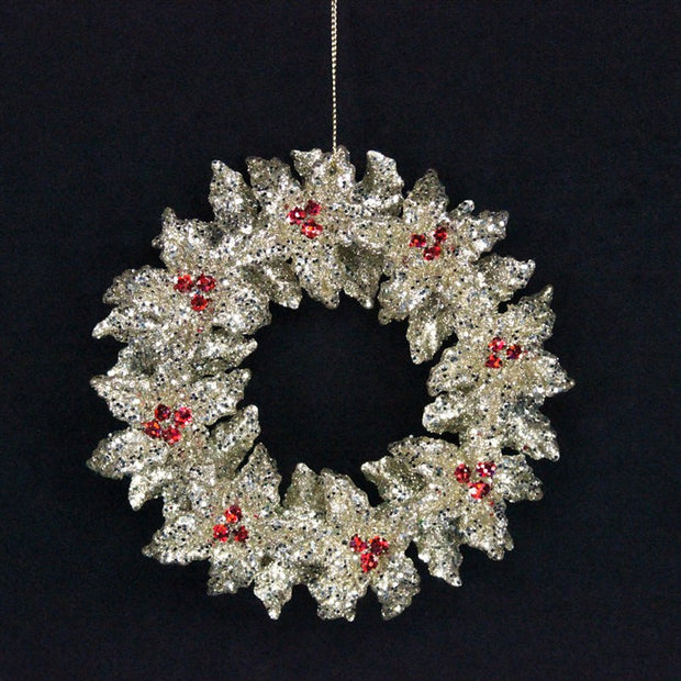 Gisela Graham Silver Wreath/Berries Hanging Dec