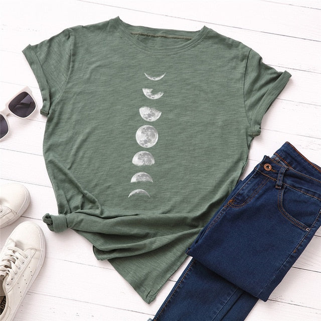 New Moon Planet Print T-Shirt - That Swag Tho