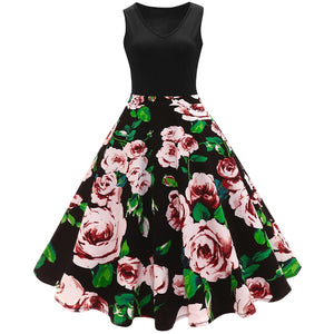 Plus Size Floral Printed Vintage Flare Dress - That Swag Tho