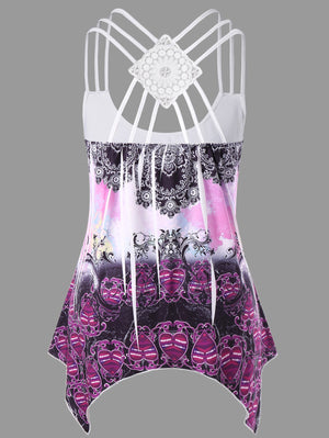 Plus Size Tribal Print Strappy Sleeveless Top - That Swag Tho