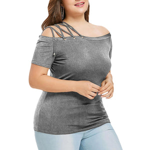 Plus Size Off The Shoulder Strappy Women T-shirt - That Swag Tho