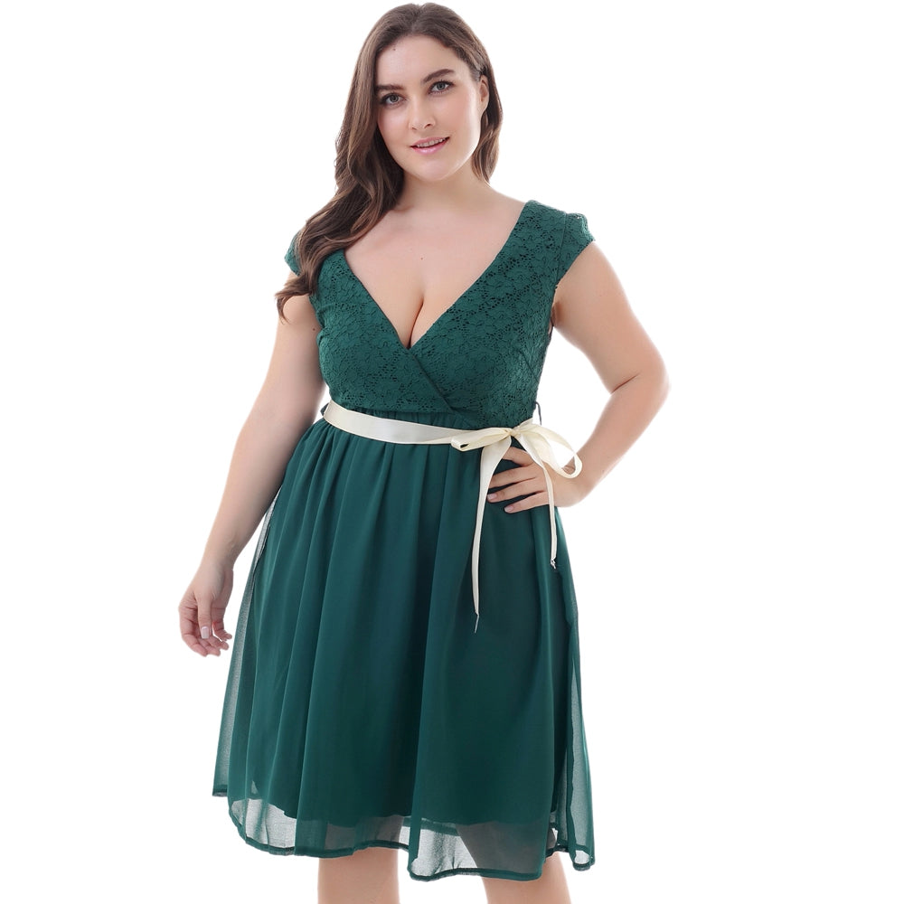 Plunge Neck Cap Sleeve Backless Lace Plus Size Belted Women Dress - That Swag Tho