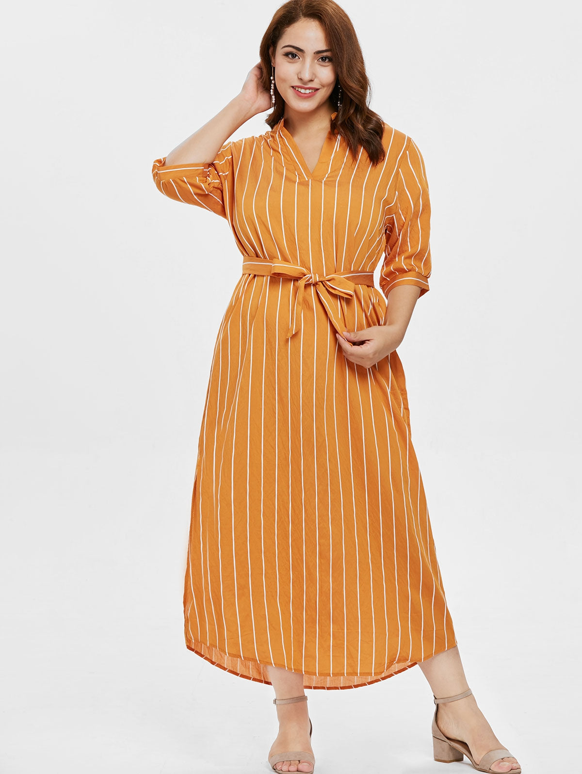 Plus Size Half Sleeve Striped Ankle Length Dress - That Swag Tho