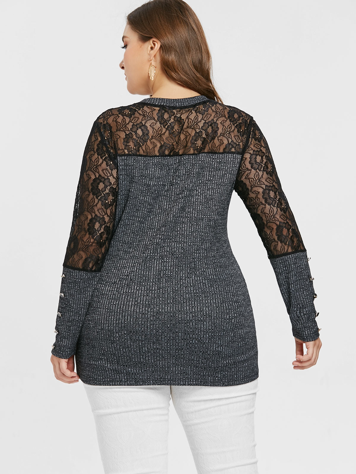 Plus Size Lace Insert Marled Knitwear - That Swag Tho