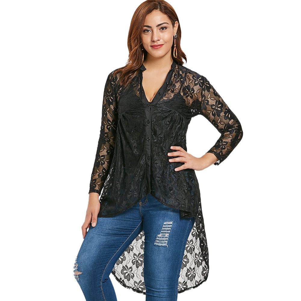 Plus Size Deep V Button-Up Lace Blouse - That Swag Tho