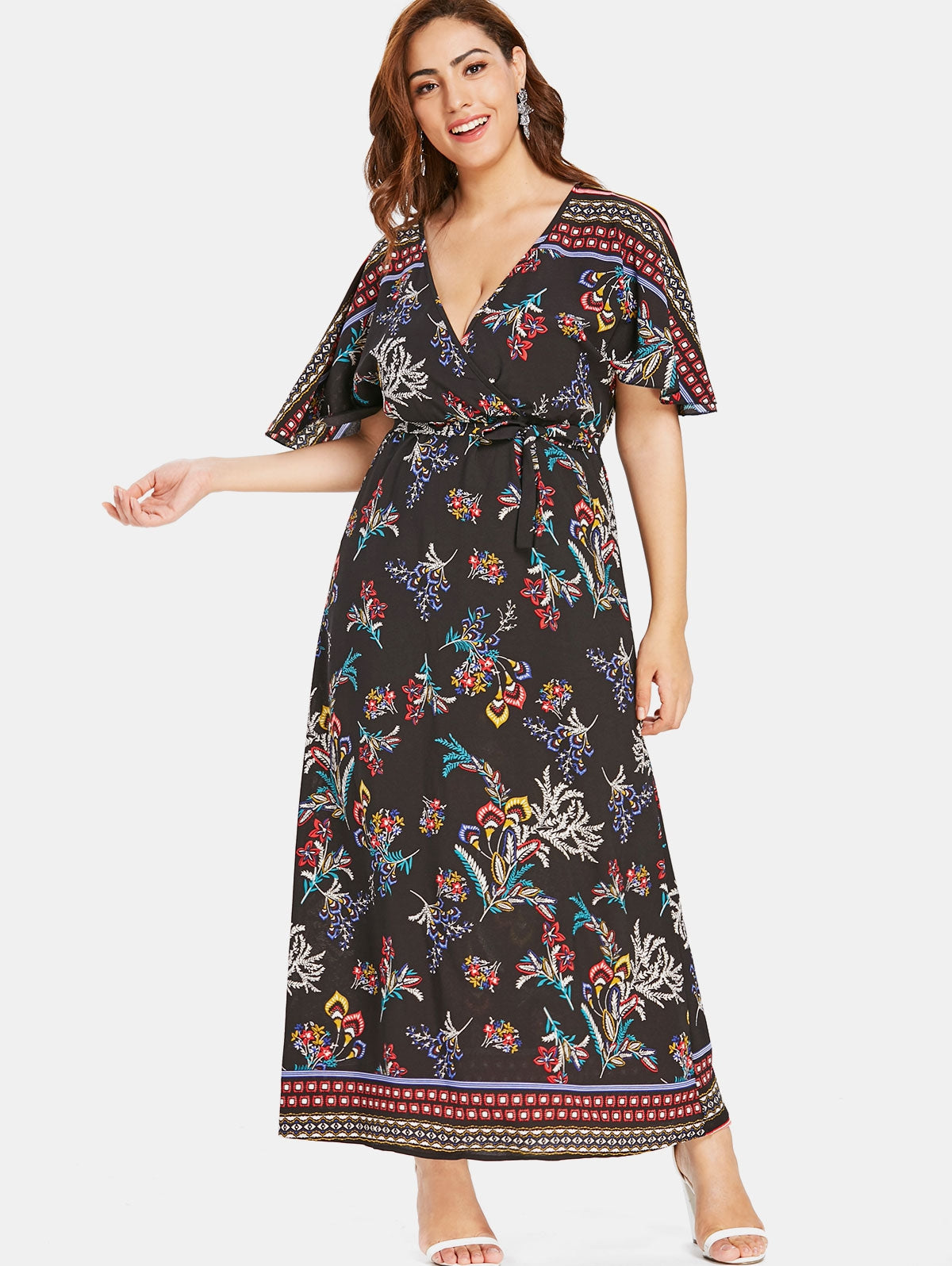 Plus Size Floral Print Maxi Dress with Belt - That Swag Tho