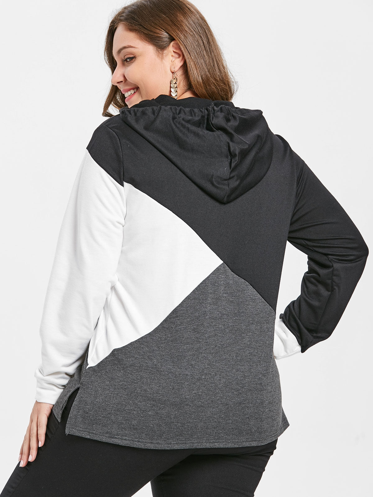 Color Block Plus Size Drawstring Hoodie - That Swag Tho