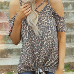 Leopard Printed Cold Shoulder Tee - That Swag Tho