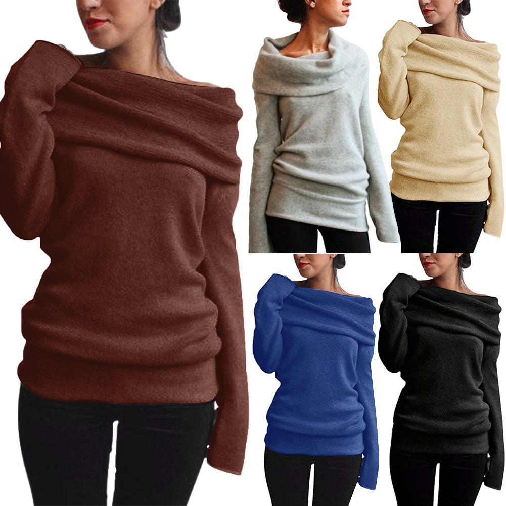 Off Shoulder Sweater Cowl Neck Long Sleeve Knit Sweater (S-3XL) - That Swag Tho