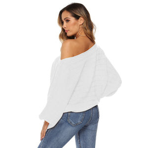Slash Neck Hollow Pullover Sweater - That Swag Tho