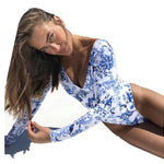 Floral Print One Piece Long Sleeve Swimsuit - That Swag Tho