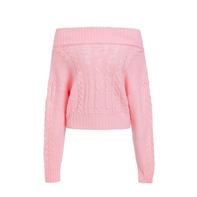 Twist Knitted Off Shoulder Women's Sweater - That Swag Tho