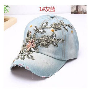 Baseball Cap Diamond Painting Embroidery Flower Denim Snapback - That Swag Tho