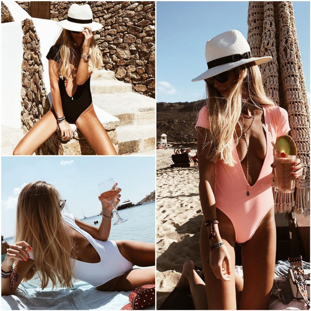 Deep V Backless One Piece - That Swag Tho