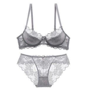 Ultrathin Underwear Set Plus Size C D Lace Embroidery Lingerie Gray Brassiere - That Swag Tho