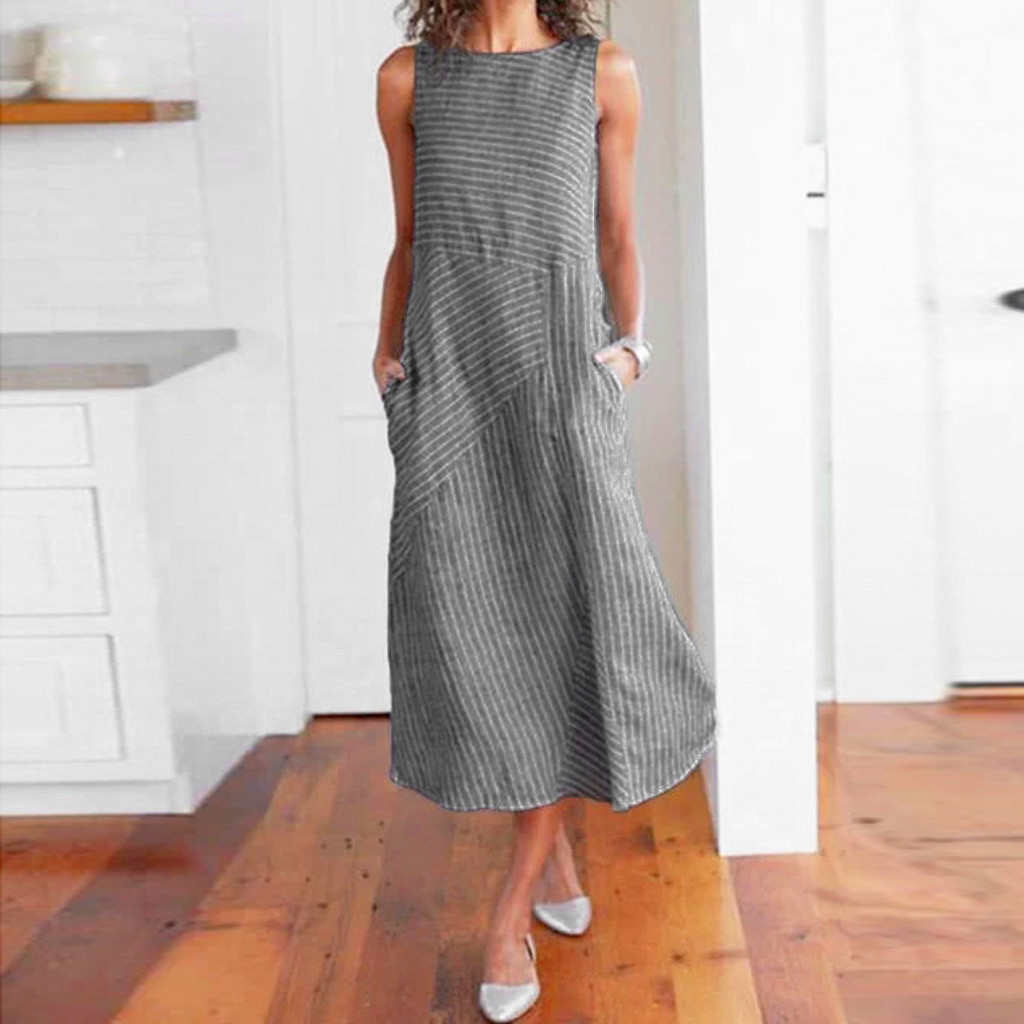 Casual Sleeveless Linen Maxi Dress - That Swag Tho