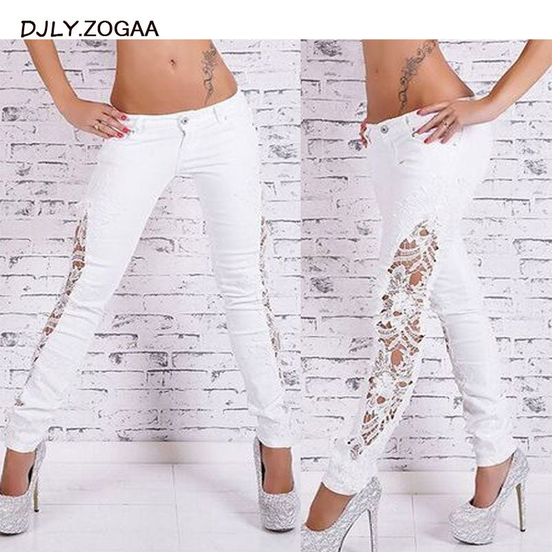 Lace Cutout Slim Jeans - That Swag Tho