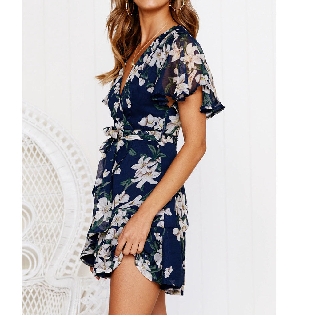 Floral Print Fit and Flare V-Neck Dress - That Swag Tho