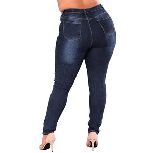 Plus Size Leggings Blue Denim Skinny Jeans - That Swag Tho