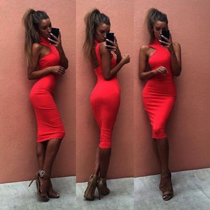 Women Sexy Halter Bodycon Slim Summer Cocktail Party Sleeveless Short Dress Stylish Womens Sheath Skinny Dresses - That Swag Tho