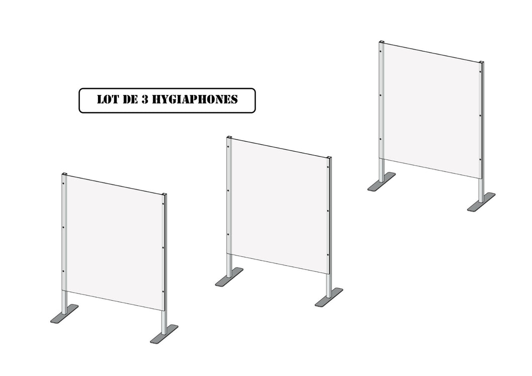 Hygiaphone - eCO - 60x66/80 - Comptoir Pharmacie - Faible encombrement - LOT DE 3