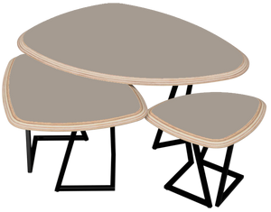 STONE - Ensemble 3 tables basses