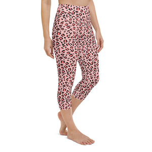 Pink Leopard Yoga Capri Leggings
