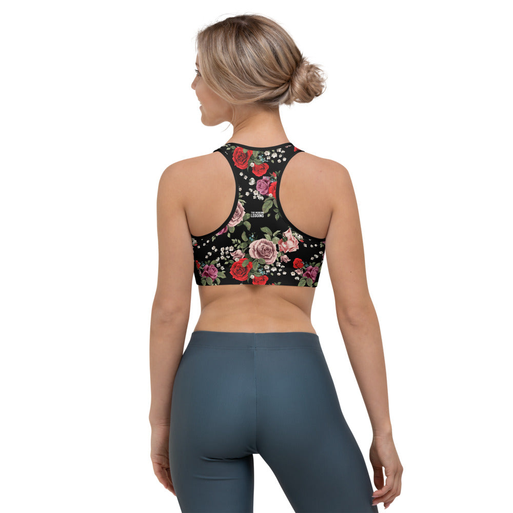 Red and Pink Roses Sports bra