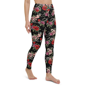 Red and Pink Roses Yoga Leggings