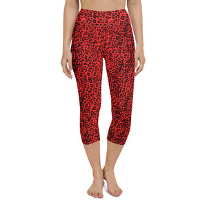 Red Leopard Yoga Capri Leggings