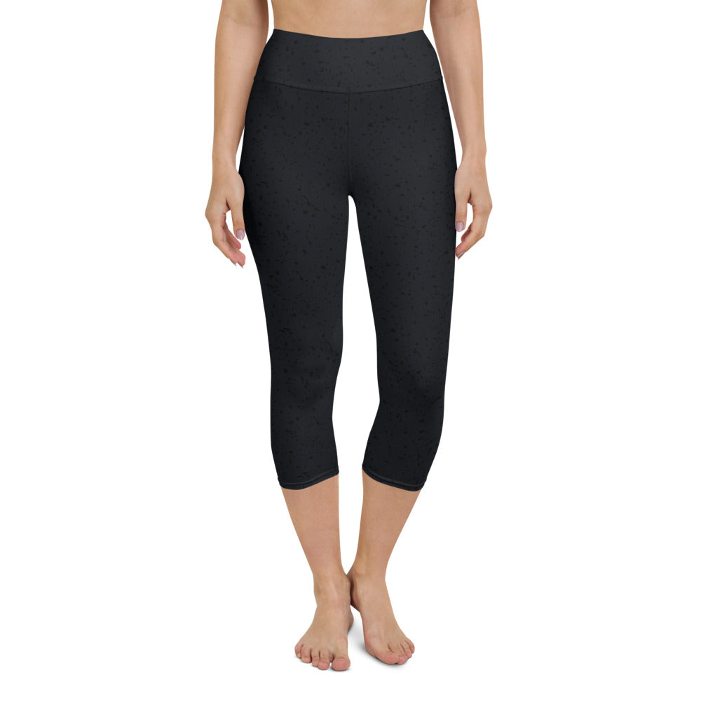Black Speckle Yoga Capri Leggings
