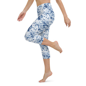Blue Tie Dye Yoga Capri Leggings
