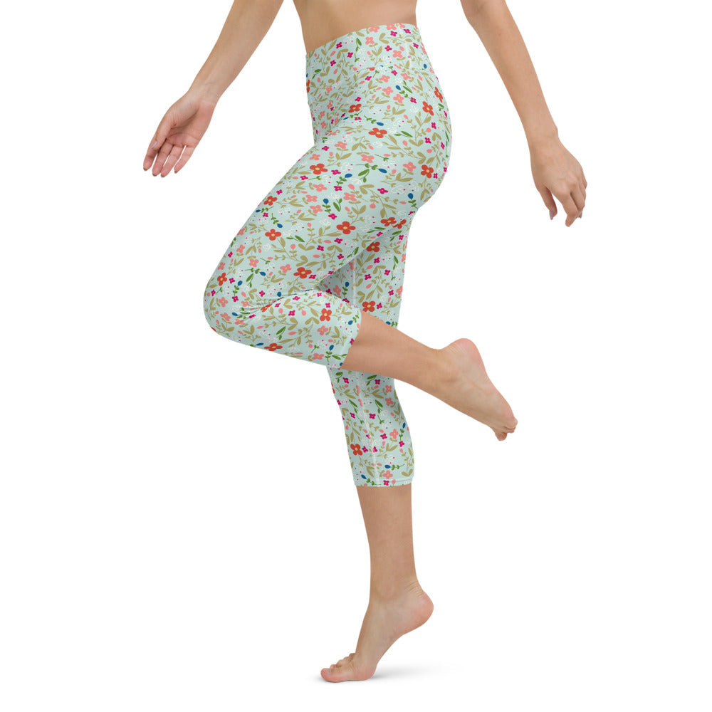 Folk Floral Yoga Capri Leggings