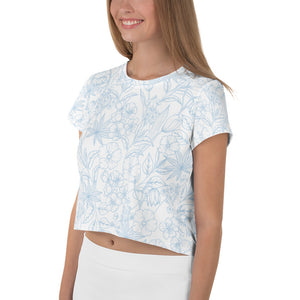 Light Floral Crop Tee