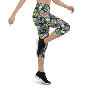 Colorful Tropical Capri Leggings