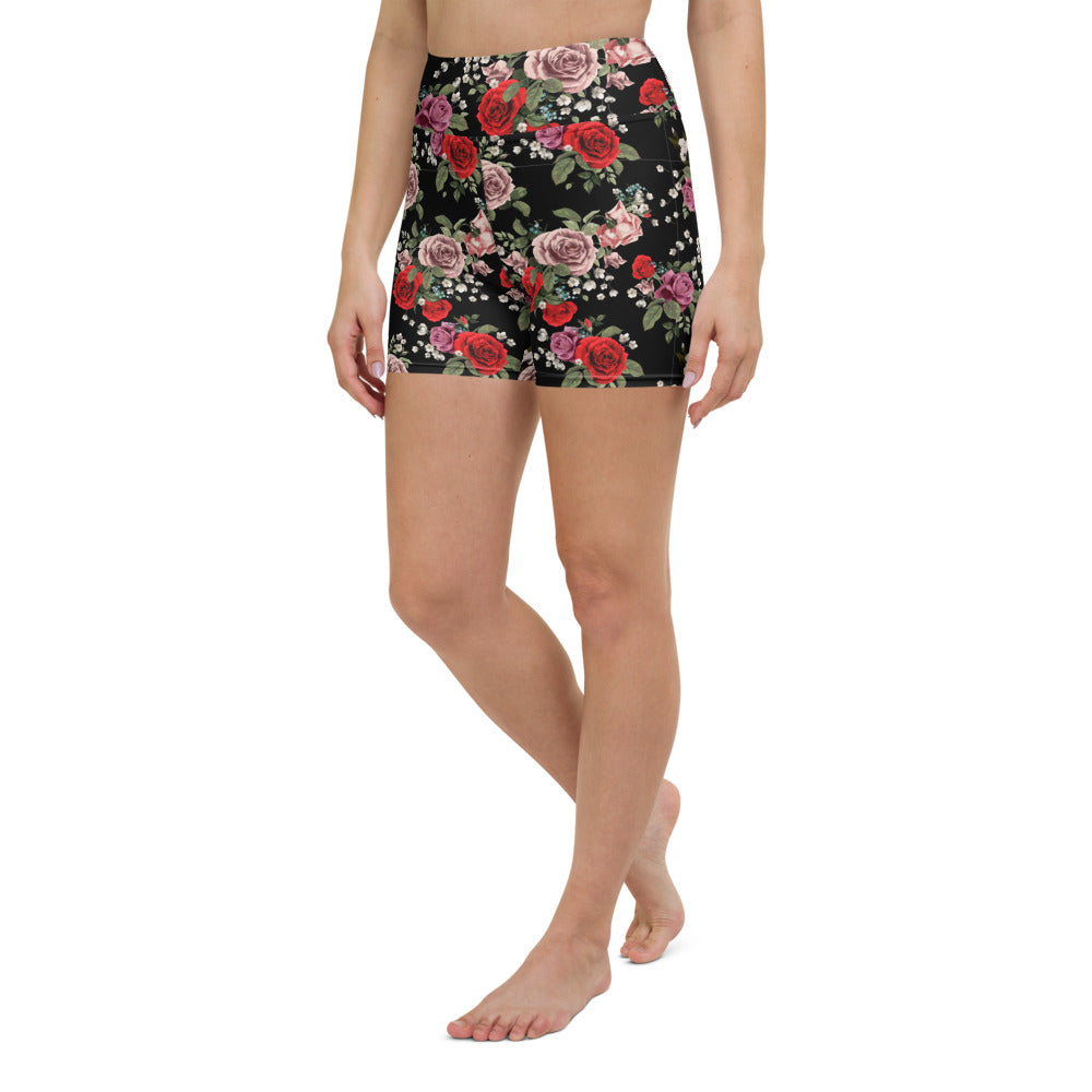 Red and Pink Roses Yoga Shorts
