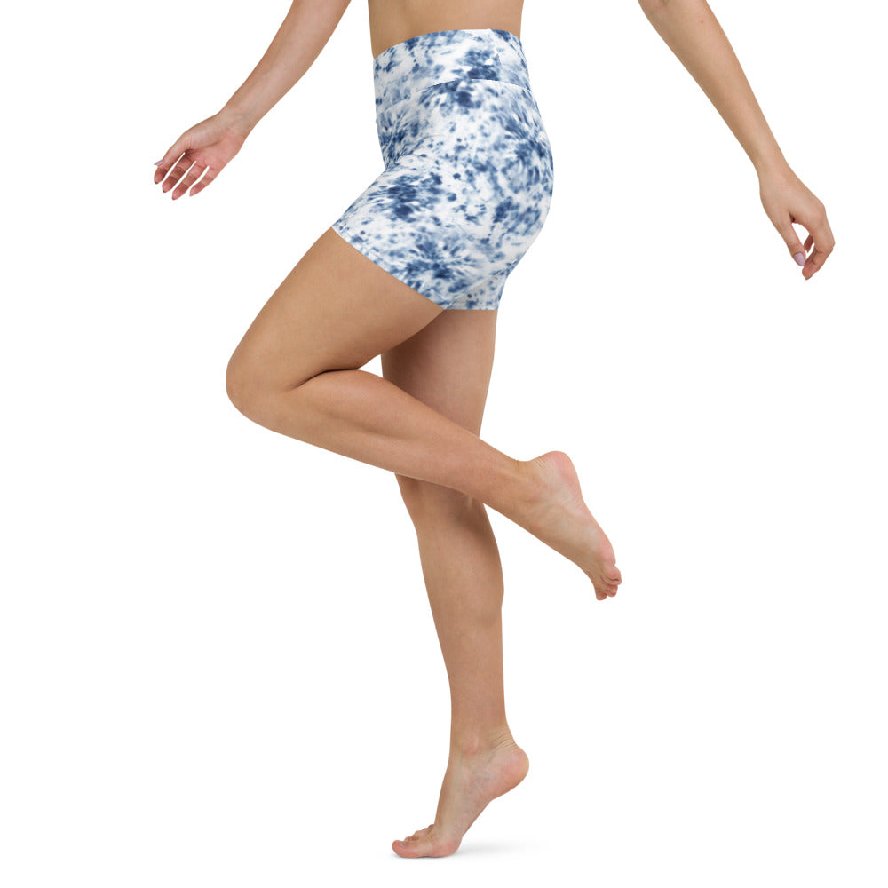 Blue Tie Dye Yoga Shorts