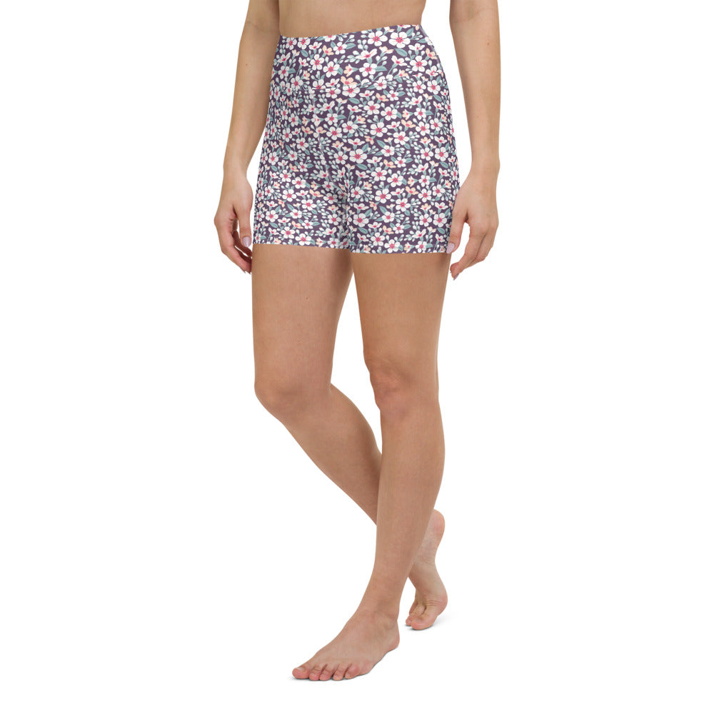 Cute Floral Yoga Shorts