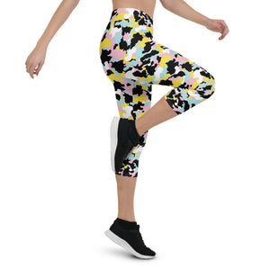 Colorful Camo Capri Leggings